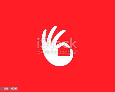 Ok hand house logo design modern minimal style illustration. Home real estate vector icon symbol logo.