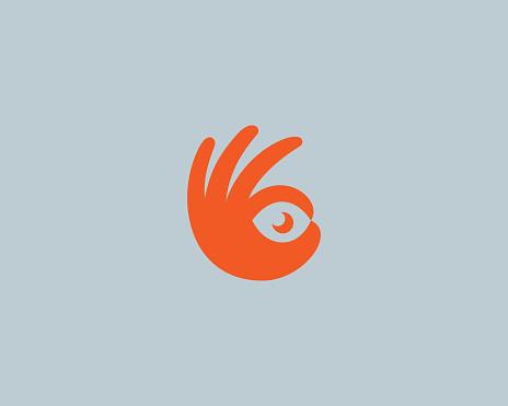 Ok hand logo design modern minimal style illustration. Eye camera photo vector icon symbol logo