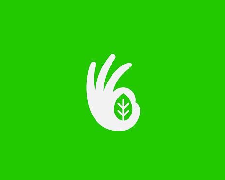 Ok hand logo design modern minimal style illustration. Leaf vector icon symbol logo