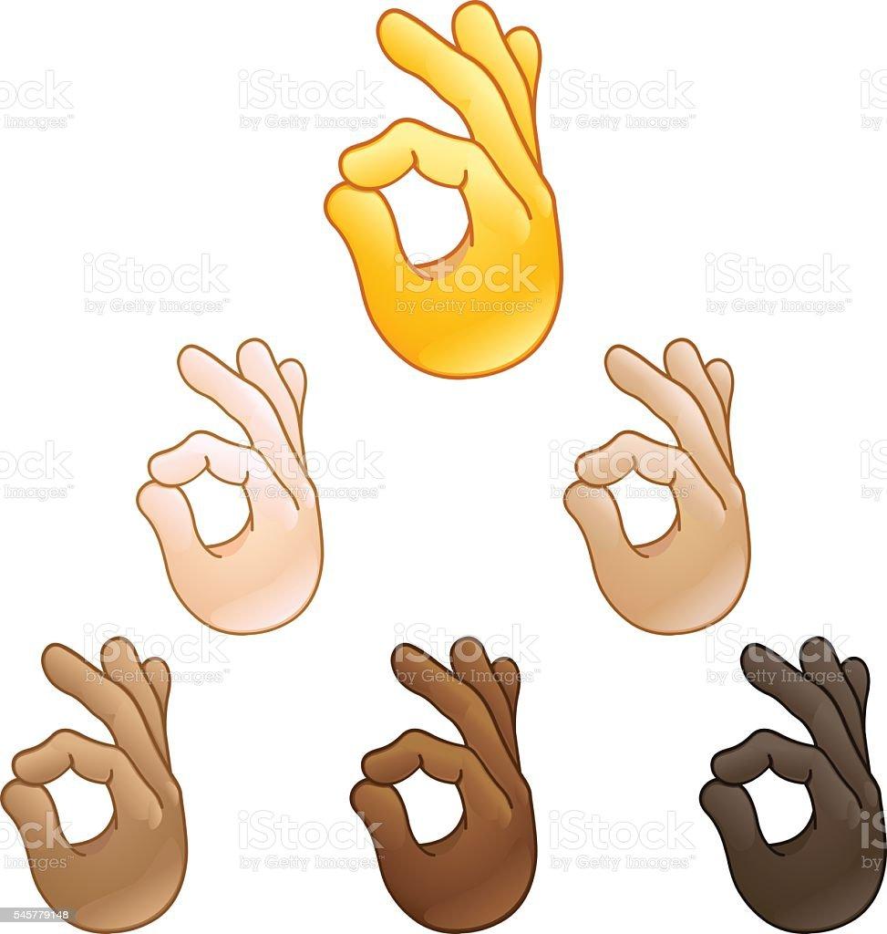 Ok hand sign emoji vector art illustration