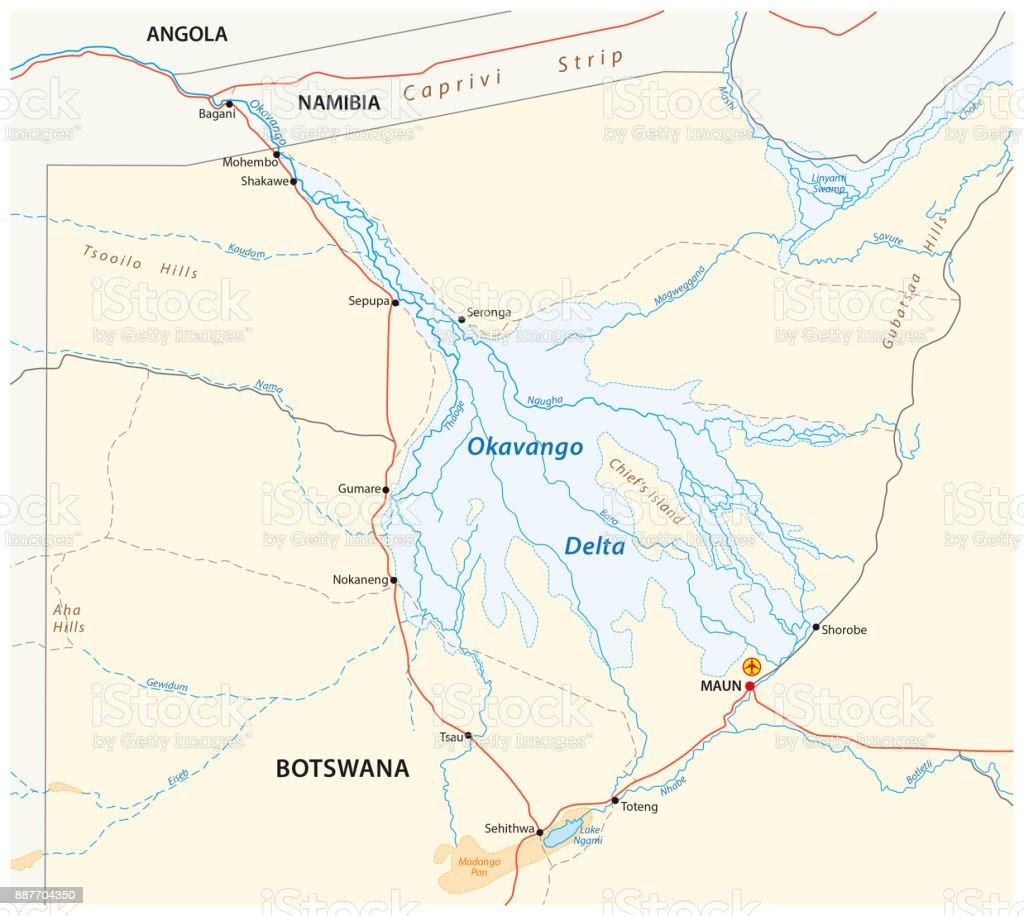 okavango delta map, Botswana vector art illustration