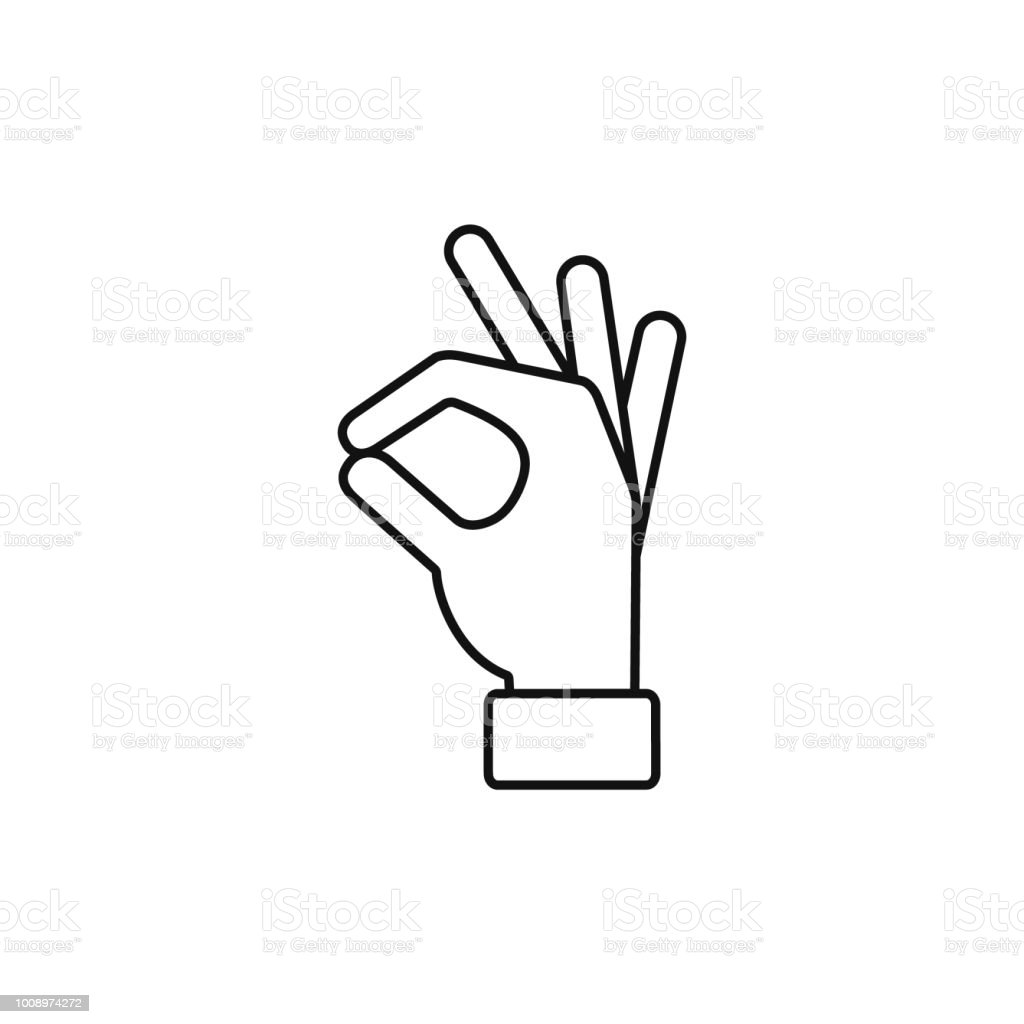Okay Hand Outline Line Icon Vector Ok Symbol Isolated Positive Sign