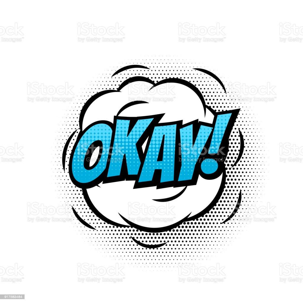 okay or ok comic text speech bubble vector isolated template pop art