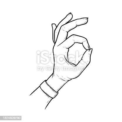 istock Okay sign meaning acception and perfection. Ok hand gesture isolated in white background. Vector illustration 1324609290