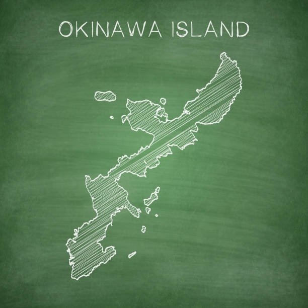 Okinawa Island map drawn on chalkboard - Blackboard Map of Okinawa Island drawn in chalk on a green chalkboard with chalk traces. Vector Illustration (EPS10, well layered and grouped). Easy to edit, manipulate, resize or colorize. naha stock illustrations