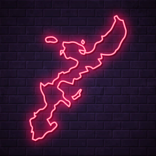Okinawa Island map - Glowing neon sign on brick wall background Map of Okinawa Island in a realistic neon sign style. The map is created with a pink glowing neon light on a dark brick wall. Modern and trendy illustration with beautiful bright colors. Vector Illustration (EPS10, well layered and grouped). Easy to edit, manipulate, resize or colorize. naha stock illustrations