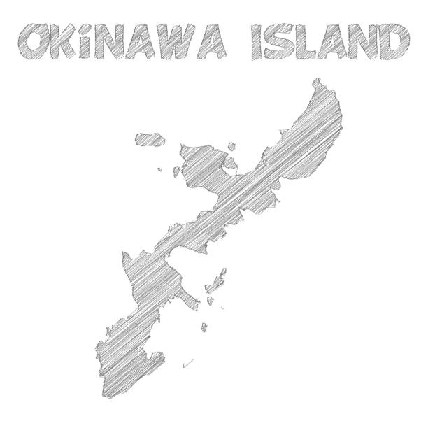 Okinawa Island map hand drawn on white background Map of Okinawa Island sketched, isolated on a blank background. Vector Illustration (EPS10, well layered and grouped). Easy to edit, manipulate, resize or colorize. naha stock illustrations