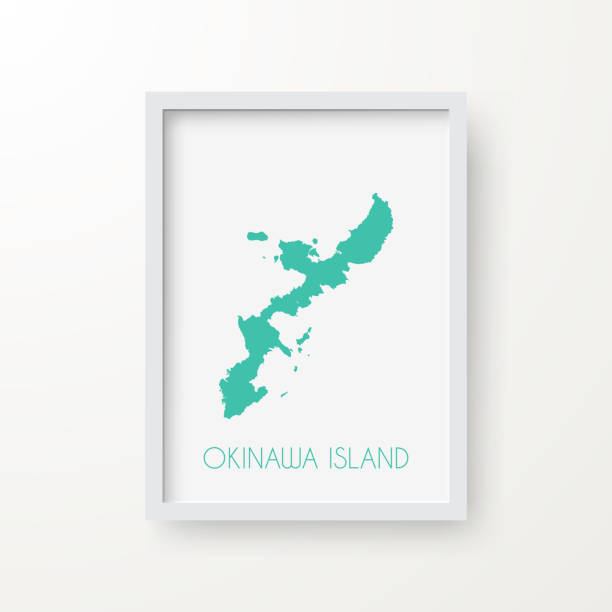 Okinawa Island map in a frame on white background Map of Okinawa Island in realistic white frame isolated on blank wall (colors used: blue, green, gray and white). Vector Illustration (EPS10, well layered and grouped). Easy to edit, manipulate, resize or colorize. naha stock illustrations