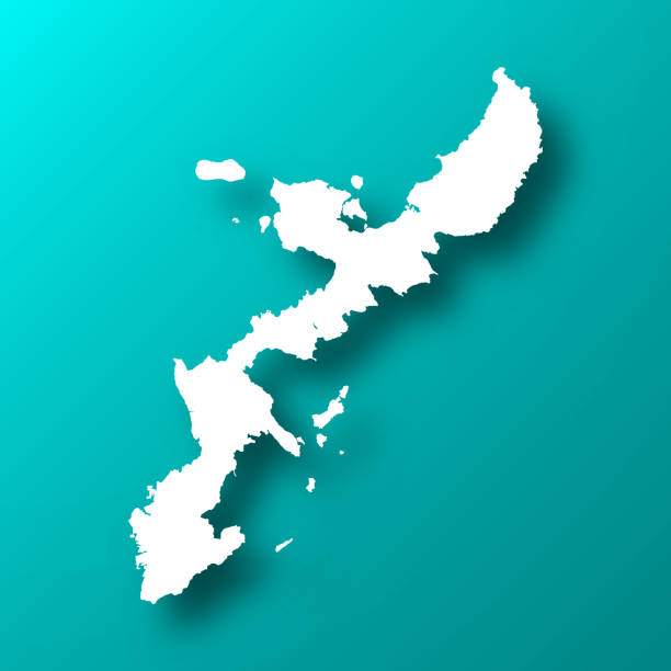 Okinawa Island map on Blue Green background with shadow White map of Okinawa Island isolated on a trendy color, a blue green background and with a dropshadow. Vector Illustration (EPS10, well layered and grouped). Easy to edit, manipulate, resize or colorize. naha stock illustrations