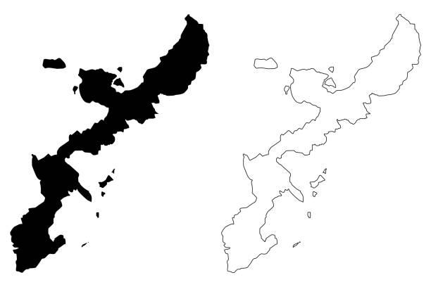 Okinawa island map vector Okinawa island (island of Japan) map vector illustration, scribble sketch Okinawa map naha okinawa stock illustrations