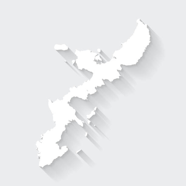 Okinawa Island map with long shadow on blank background - Flat Design White map of Okinawa Island isolated on a gray background with a long shadow effect and in a flat design style. Vector Illustration (EPS10, well layered and grouped). Easy to edit, manipulate, resize or colorize. naha stock illustrations