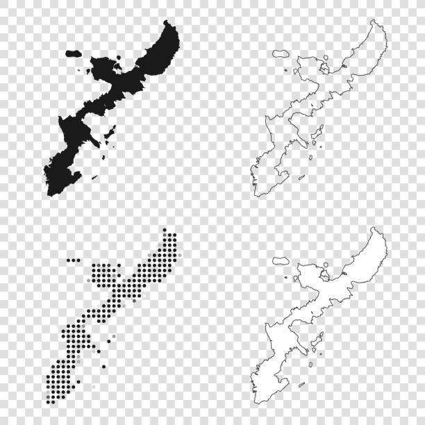 Okinawa Island maps for design - Black, outline, mosaic and white Map of Okinawa Island for your own design. With space for your text and your background. Four maps included in the bundle: - One black map. - One blank map with only a thin black outline (in a line art style). - One mosaic map. - One white map with a thin black outline. The 4 maps are isolated on a blank background (for easy change background or texture).The layers are named to facilitate your customization. Vector Illustration (EPS10, well layered and grouped). Easy to edit, manipulate, resize or colorize. naha stock illustrations