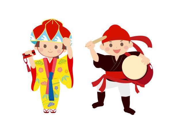 Okinawa people1 It is an illustration of Okinawa people. naha okinawa stock illustrations