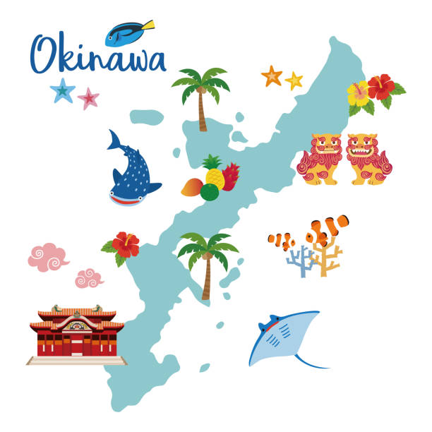 Okinawa travel map with local specialties Okinawa travel map with local specialties (Shisa; tropical fruits; whale shark; hibiscus; palm tree; coral; tropical fish; starfish; strong Okinawan liquor; manta ray) naha stock illustrations