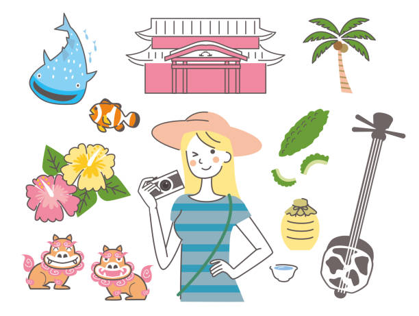 Okinawa woman traveling alone Vector illustration naha stock illustrations
