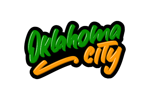 Oklahoma City hand drawn modern brush lettering. Vector illustration logo text for webpage, print and advertising.