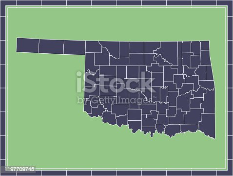 Printable counties map of Oklahoma state of United States of America. The map is accurately prepared by a map expert.