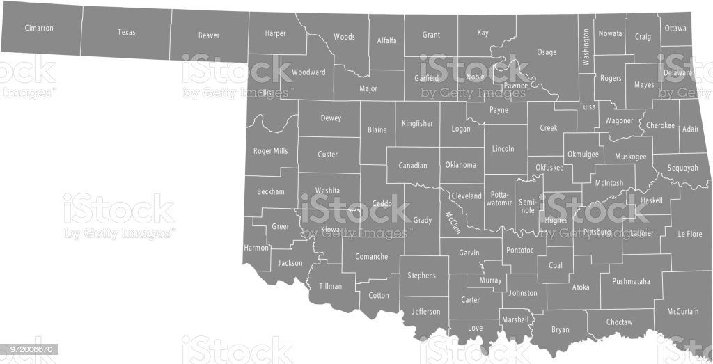 Oklahoma County Map Vector Outline Gray Background Map Of Oklahoma ...