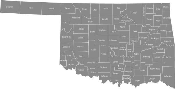 illustrazioni stock, clip art, cartoni animati e icone di tendenza di oklahoma county map vector outline gray background. map of oklahoma state of usa with borders and counties names labeled - erba medica