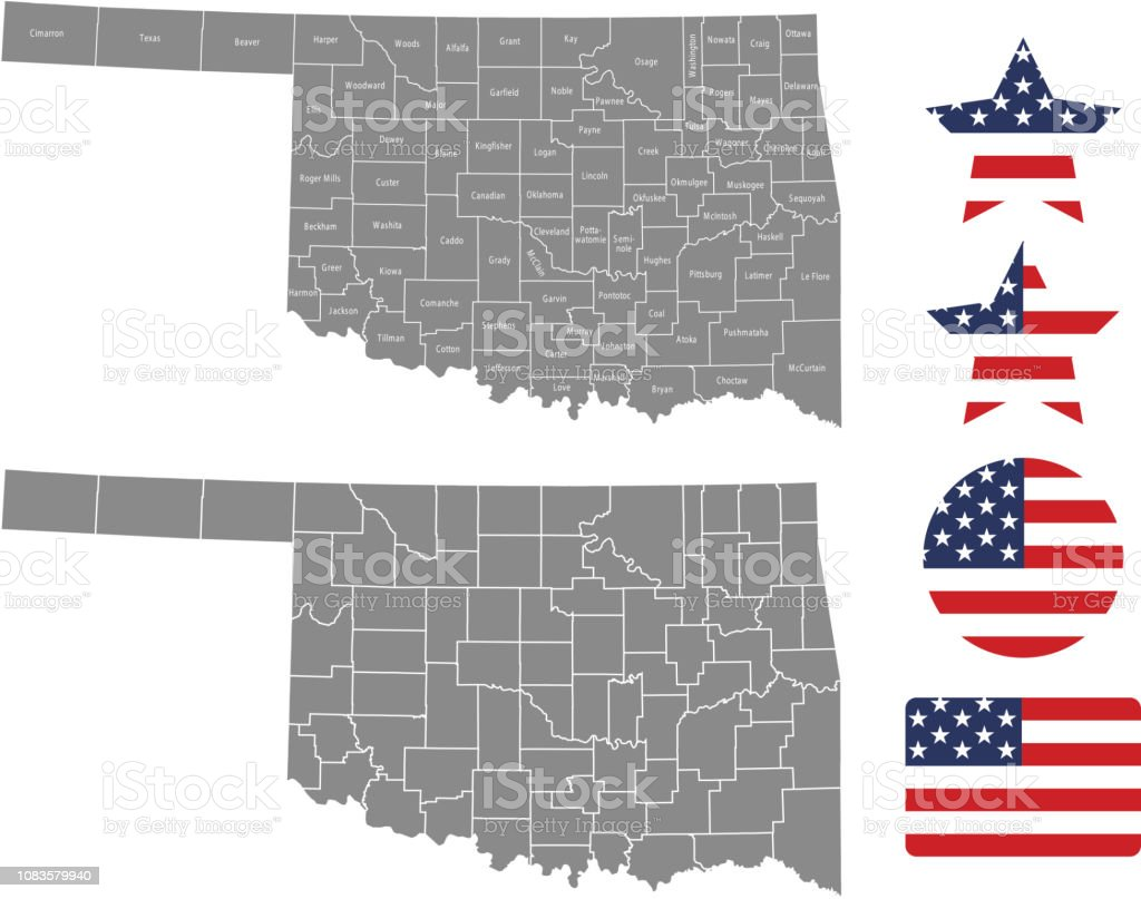 Oklahoma County Map Vector Outline In Gray Background Oklahoma State ...
