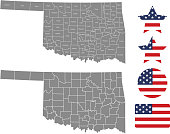 Oklahoma county map vector outline in gray background. Oklahoma state of USA map with counties names labeled and United States flag icon vector illustration designs