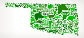 Oklahoma Farming and Agriculture Green Icon Pattern