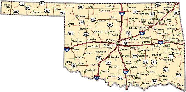 Oklahoma Highway Map (vector) vector art illustration