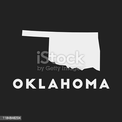 Oklahoma icon. Us state map on dark background. Stylish Oklahoma map with us state name. Vector illustration.