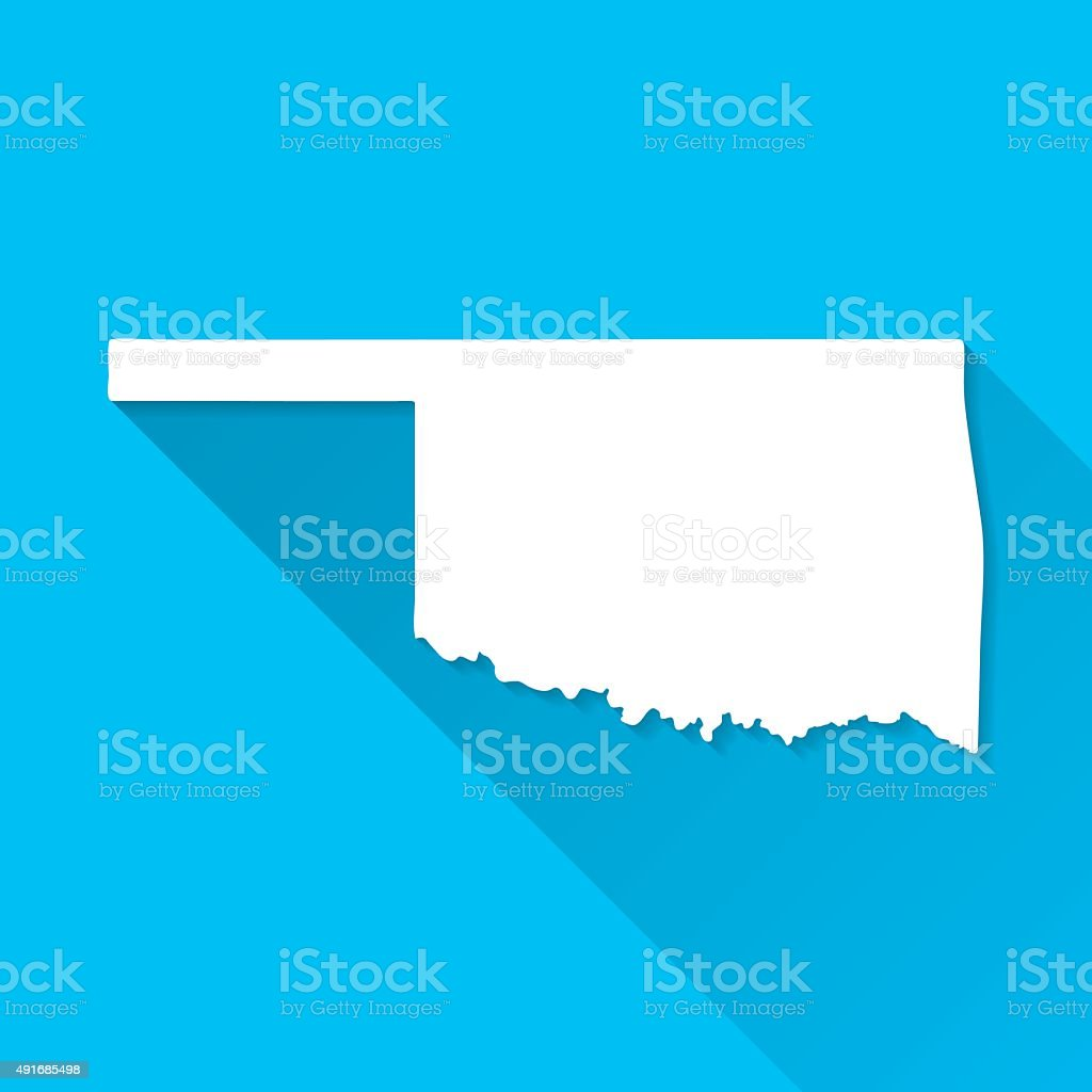 Oklahoma Map on Blue Background, Long Shadow, Flat Design vector art illustration