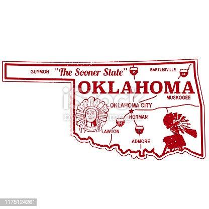 Oklahoma Retro Stamp