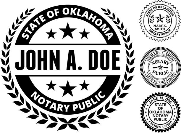 Oklahoma State Notary Public Black And White Seal Stock