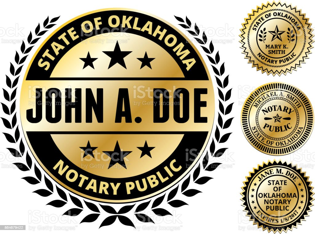 Oklahoma State Notary Public Seal In Gold Stock Illustration
