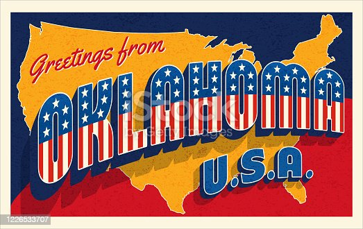 Greetings from Oklahoma USA. Retro style postcard with patriotic stars and stripes lettering and United States map in the background. For 4th of July or Memorial Day travel. Vector illustration.