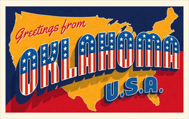 Oklahoma USA retro style postcard with patriotic stars and stripes vector art illustration