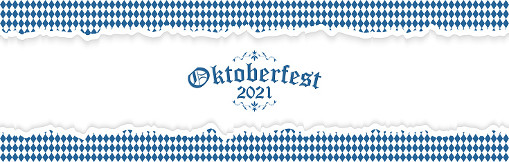 Oktoberfest 2021 background with ripped paper