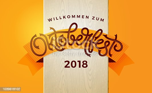 Oktoberfest autumn banner with vintage lettering. Template for poster, flyer, invitation, greeting card, social media banner. Vector handwritten typography. EPS10