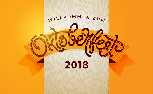 Oktoberfest autumn banner with vintage lettering. Template for poster, flyer, invitation, greeting card, social media banner. Vector handwritten typography.