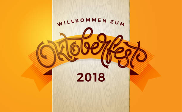 Oktoberfest autumn banner with vintage lettering. Template for poster, flyer, invitation, greeting card, social media banner. Vector handwritten typography. Oktoberfest autumn banner with vintage lettering. Template for poster, flyer, invitation, greeting card, social media banner. Vector handwritten typography. EPS10 bread patterns stock illustrations
