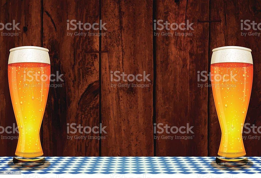 Oktoberfest background [Bavarian flag & board & beer] vector art illustration