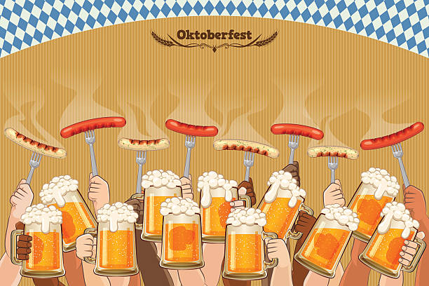 ilustraciones, imágenes clip art, dibujos animados e iconos de stock de oktoberfest background [men enjoy the festival] - oktoberfest