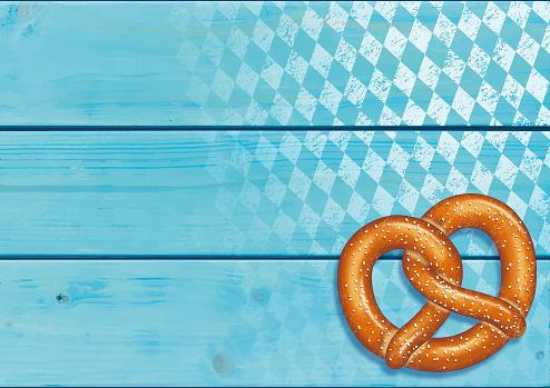 Oktoberfest background [Pretzel on the Wooden boards]