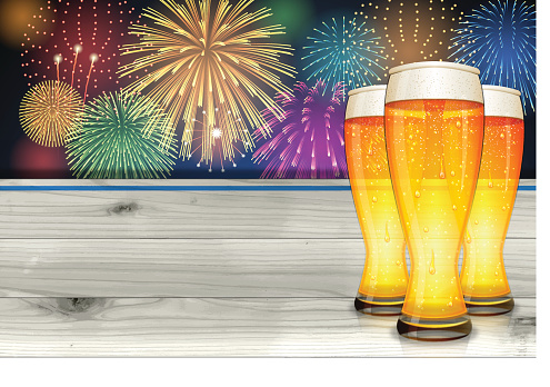 Oktoberfest background[Fireworks and board and Beer]