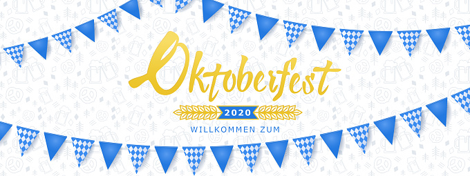 Oktoberfest banner. Background with Oktoberfest lettering logo, holiday garland buntings of Bavarian checkered blue flag and pattern with beer mugs and pretzels.