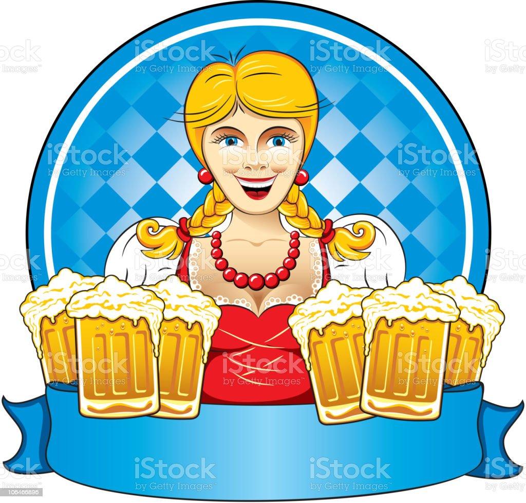 Oktoberfest beauty girl with beer royalty-free stock vector art