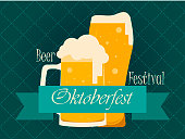 Oktoberfest Beer Festival. Glass of beer with ribbon on a green background. Vector illustration