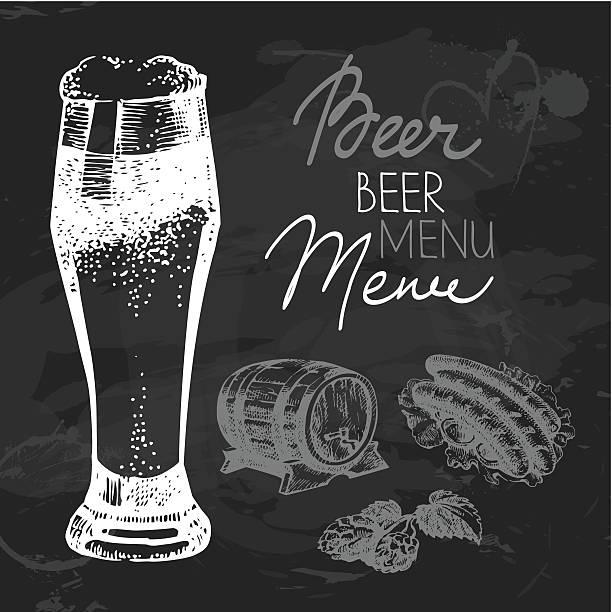 Oktoberfest beer hand drawn chalkboard design set vector art illustration