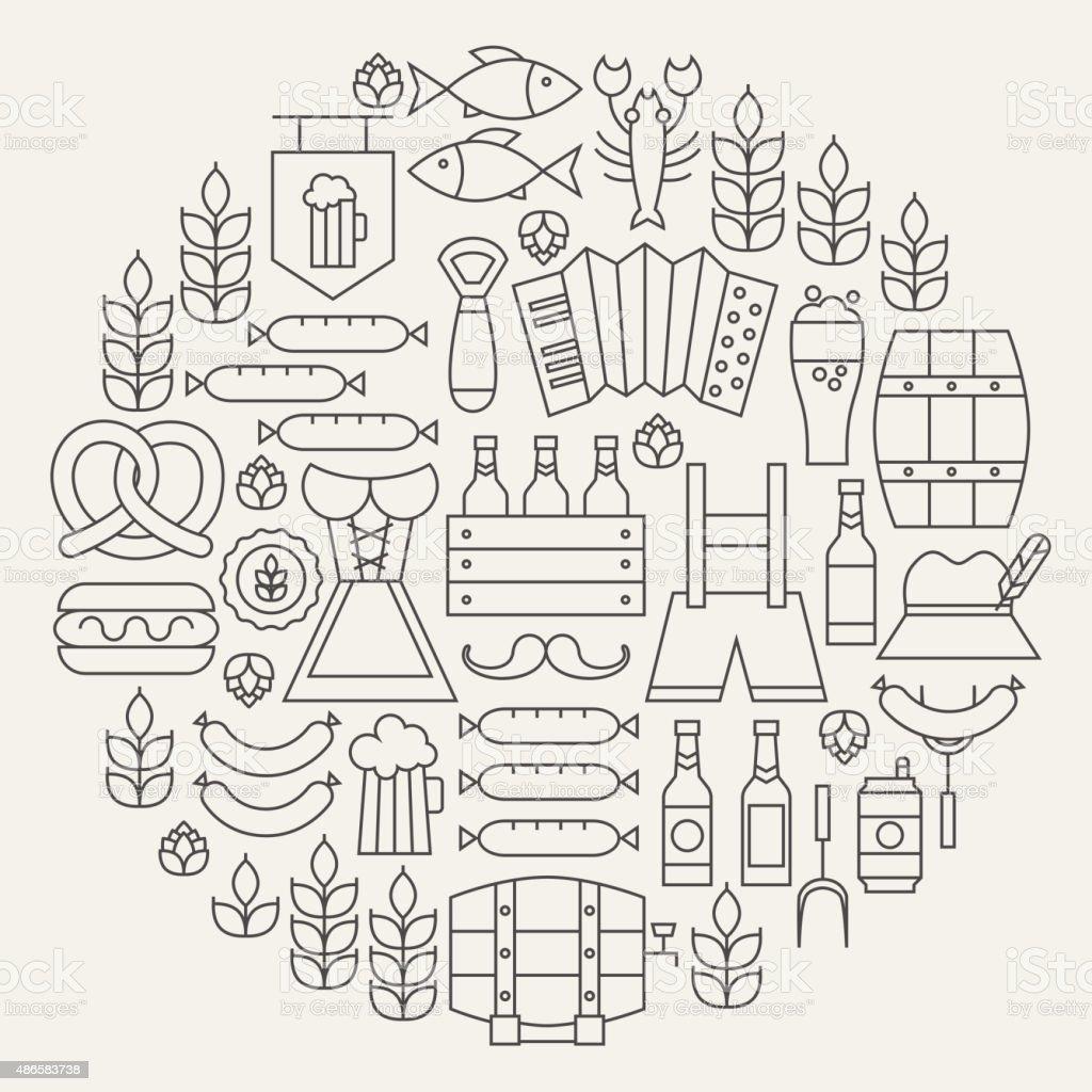 Oktoberfest Beer Holiday Line Icons Set Circular Shaped vector art illustration