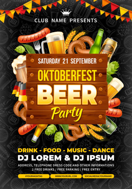Oktoberfest beer party template Bright advertisement poster template of Oktoberfest beer party with different objects related with beer festival. Hand drawn doodle pattern on background. Vector illustration. oktoberfest stock illustrations