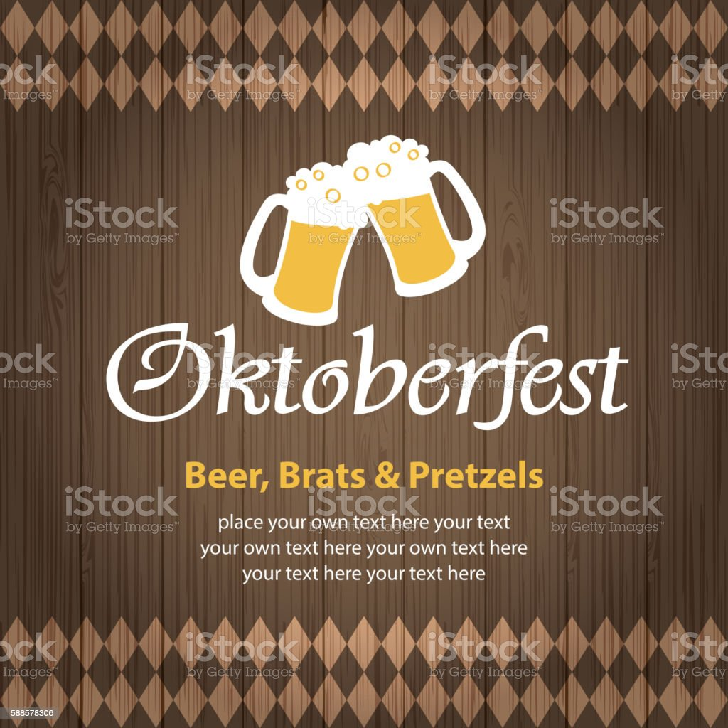 Oktoberfest Beer Wooden Background vector art illustration