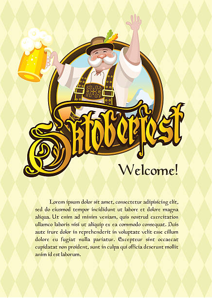 ilustraciones, imágenes clip art, dibujos animados e iconos de stock de oktoberfest. billboard, logo. the man with the beer. - oktoberfest